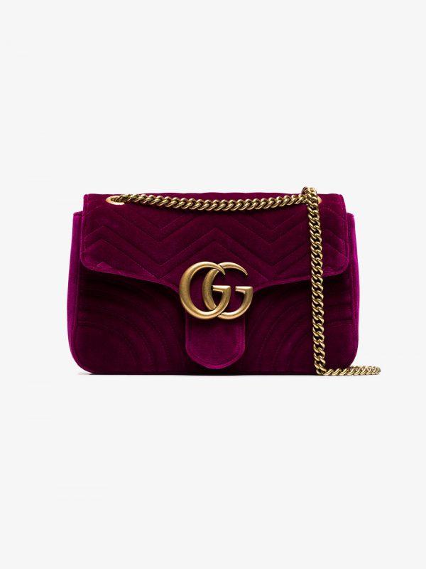 Gucci fuchsia Marmont medium velvet quilted bag