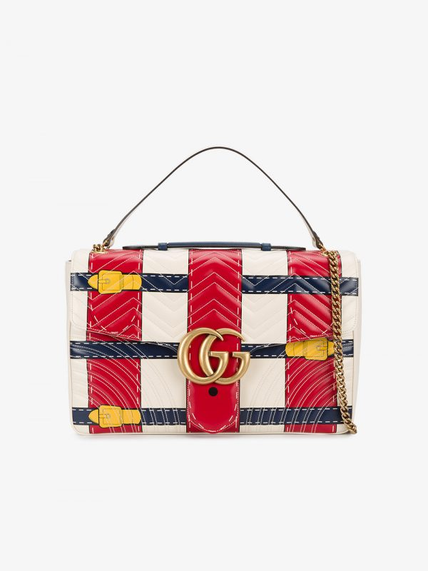 Gucci multi coloured GG Marmont trompe loeil large shoulder bag