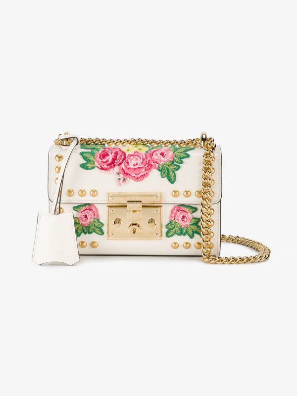 Gucci white Embroidered Padlock Small shoulder bag