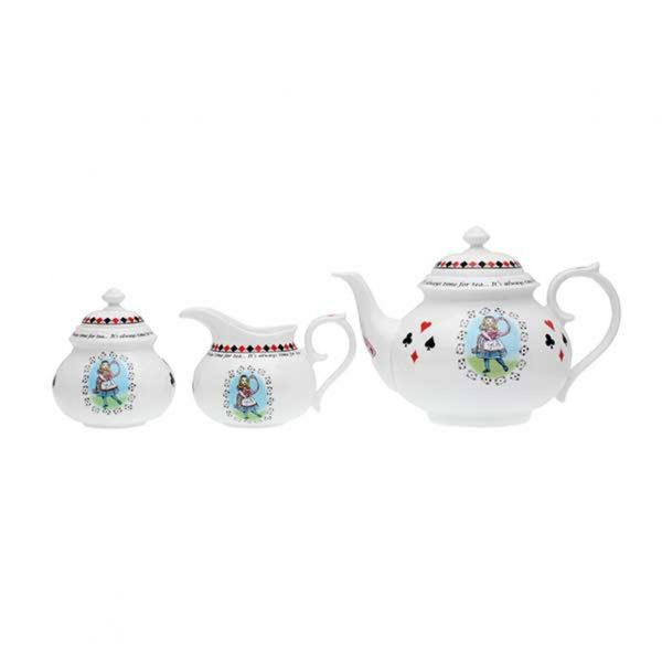 Halcyon Days Alice In Wonderland Teapot, Sugar & Creamer Box Set