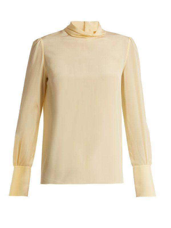 High-neck crepe de Chine blouse