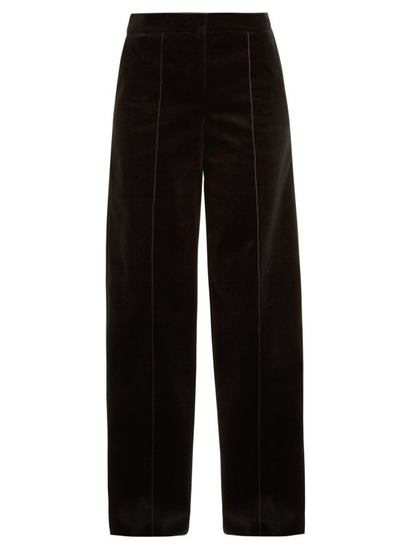 High-rise wide-leg cotton-velvet trousers