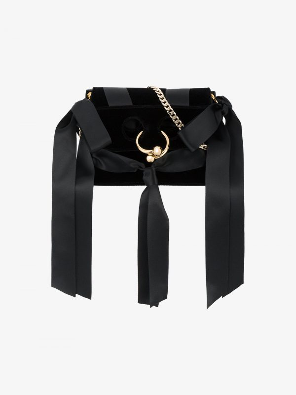 JW Anderson Black Bow Pierce Mini Velvet Cross Body bag