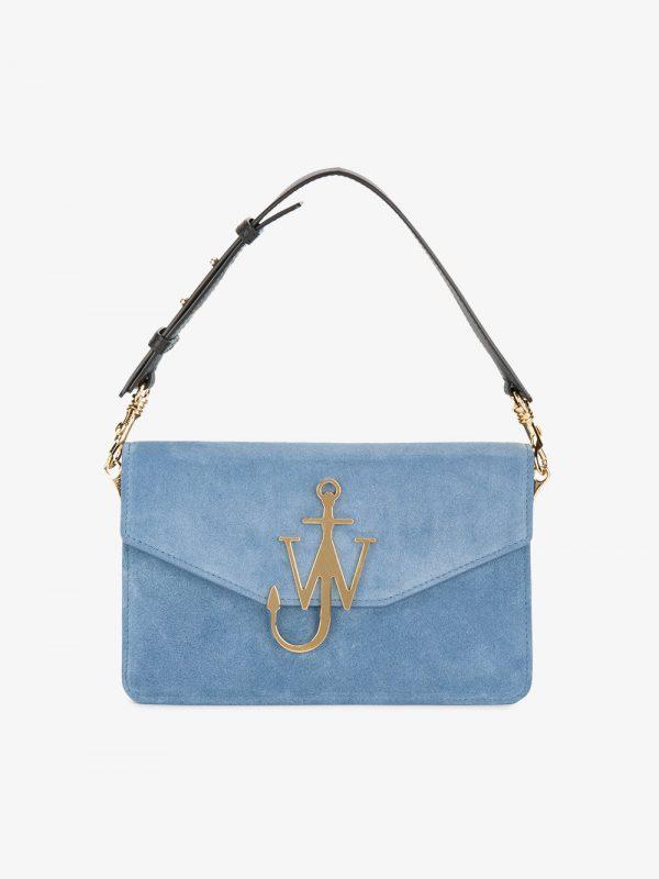 JW Anderson Bluebird Logo Suede Shoulder Bag