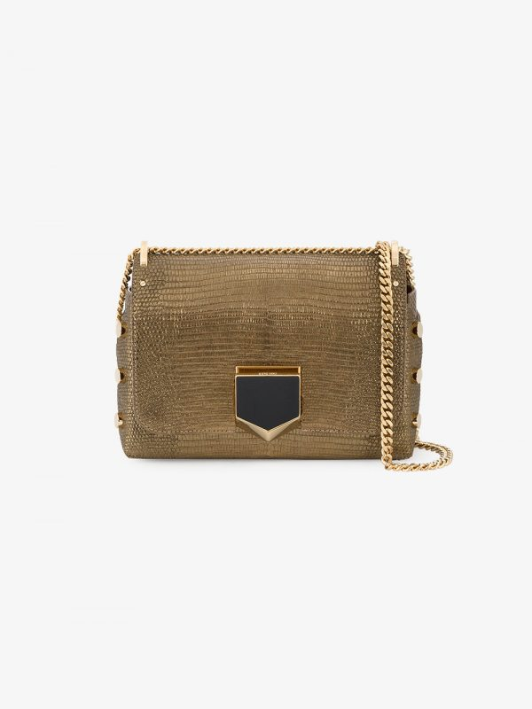 Jimmy Choo Gold Petite Lockett leather shoulder bag