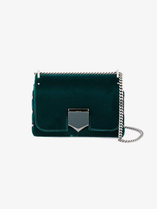 Jimmy Choo Green Petite Lockett Velvet Shoulder bag