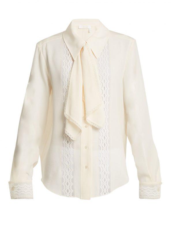 Lace-insert tie-neck blouse