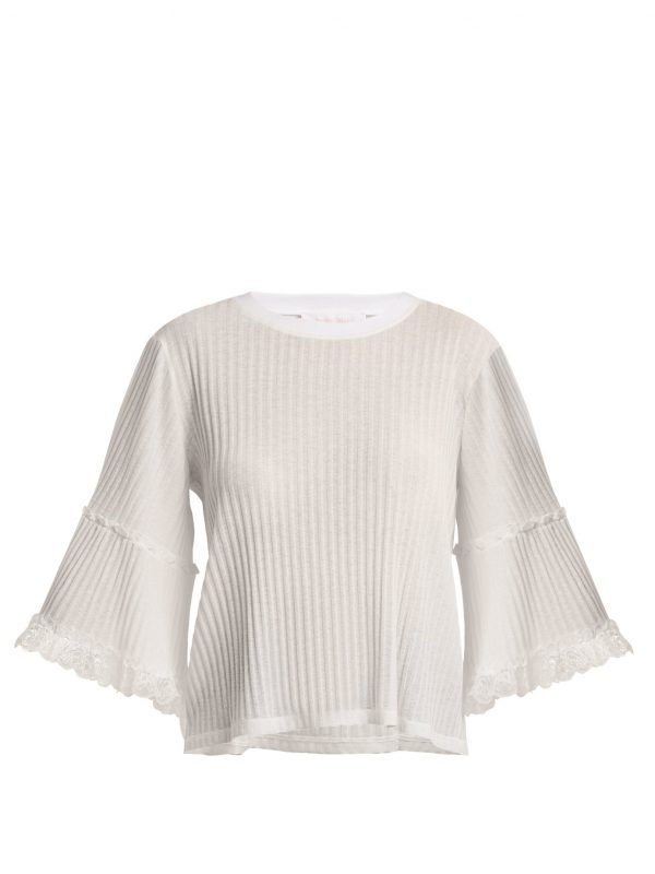 Lace-trimmed ribbed-jersey top