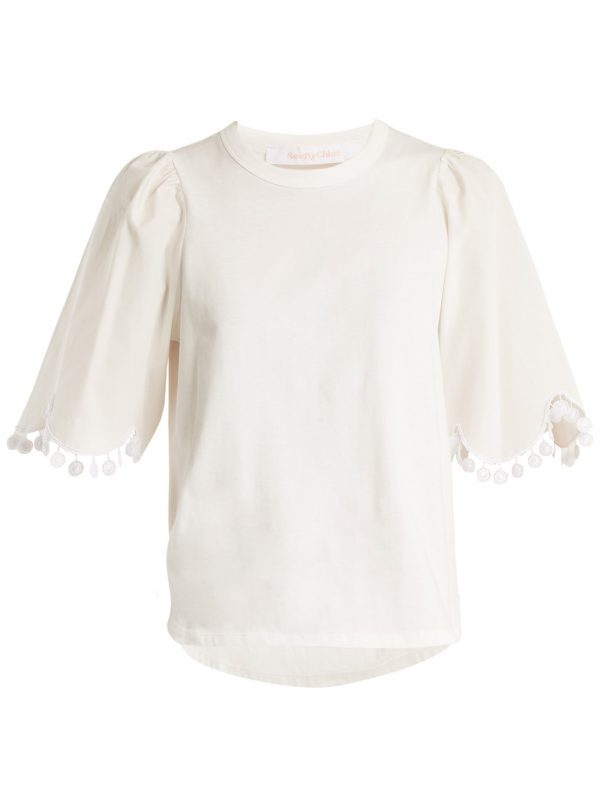 Lace-trimmed short-sleeved cotton T-shirt