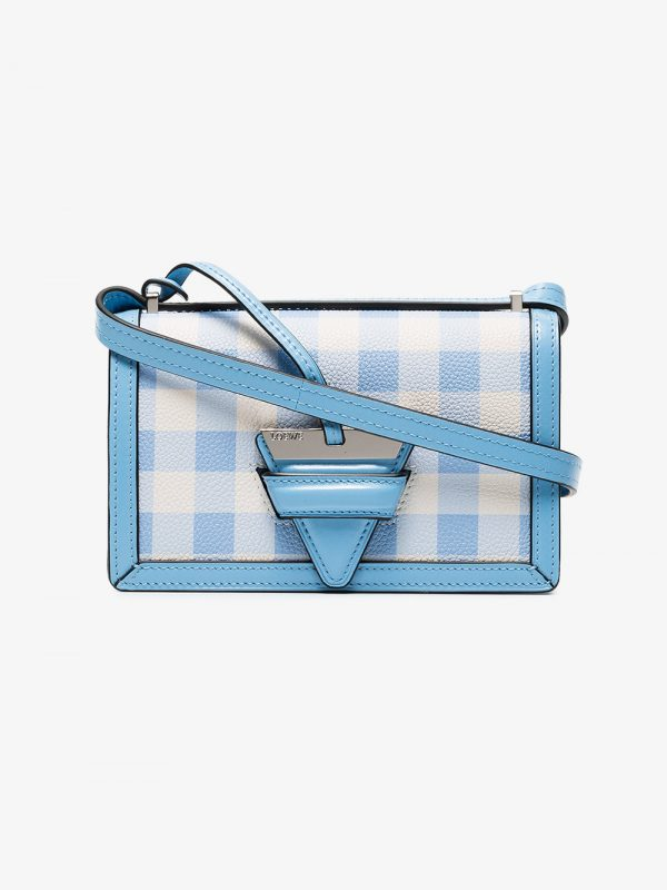 Loewe blue and white Barcelona Small gingham leather shoulder bag