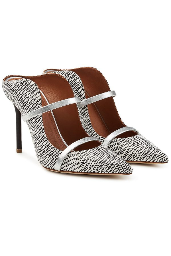 Malone Souliers Maureen Snakeskin Pumps with Leather