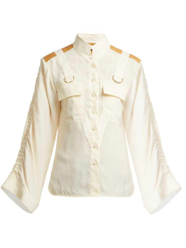 Mandarin-collar patch-pocket blouse