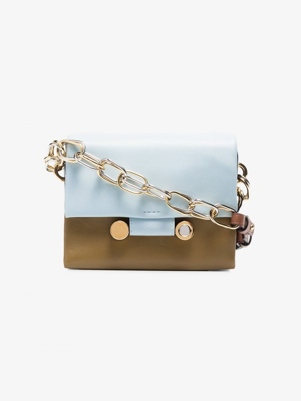 Marni Blue And Green Tricolour Leather Shoulder Bag