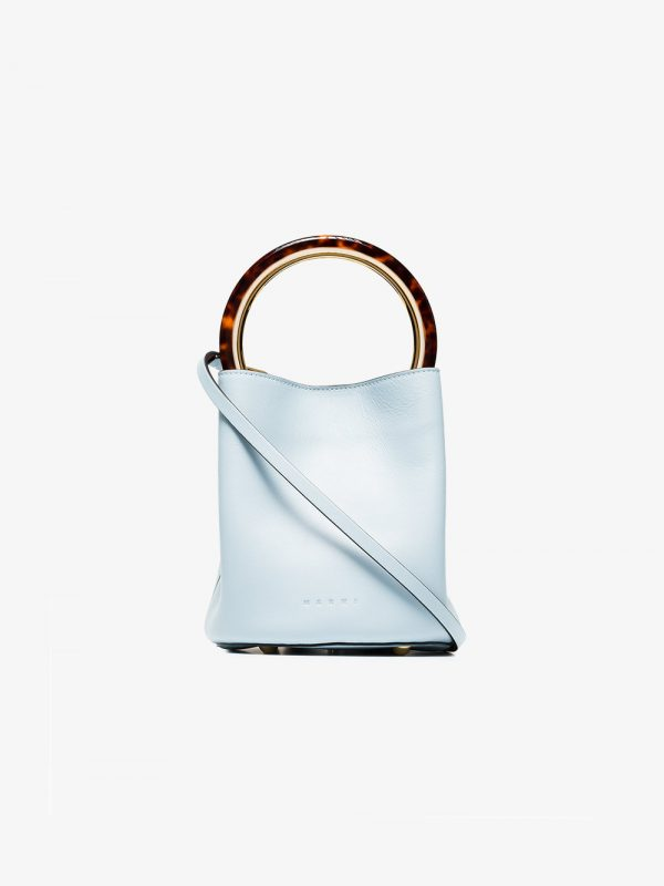 Marni Blue Pannier leather resin handle bucket bag