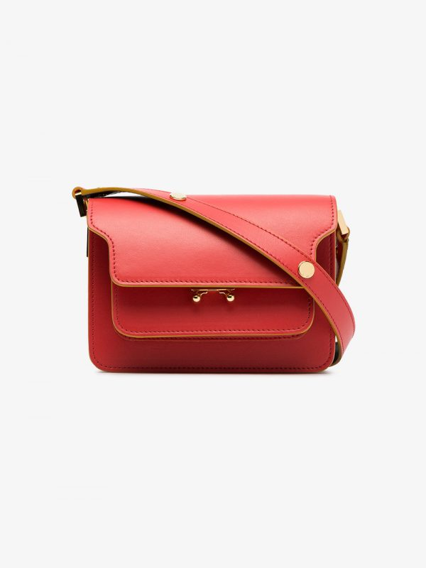 Marni red trunk micro leather shoulder bag