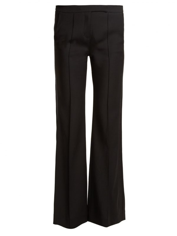 Mid-rise flared crepe trousers