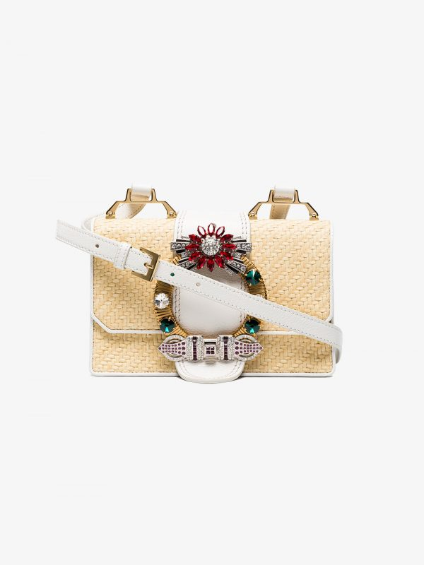 Miu Miu Beige Madras crystal raffia cross body bag
