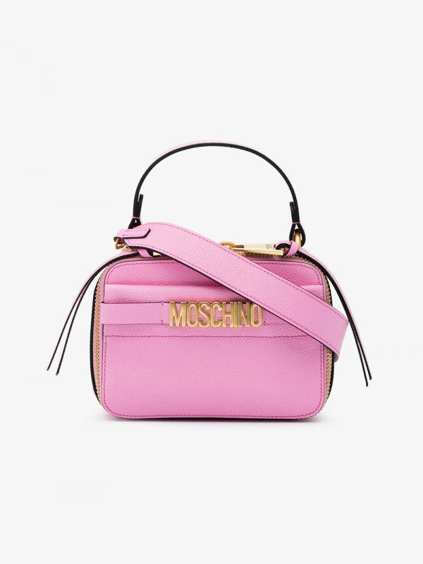 Moschino pink Camera Logo leather cross body bag