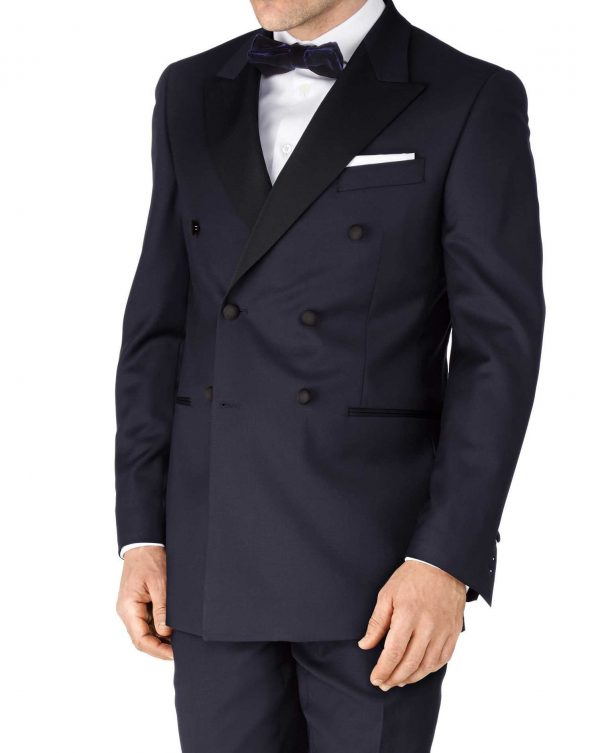 Navy Slim Fit Double Breasted Dinner Suit Wool Jacket Size 36 Regular by Charles Tyrwhitt