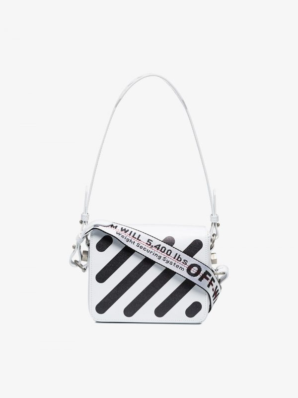 Off-White White Diagonal flap leather shoulder bag