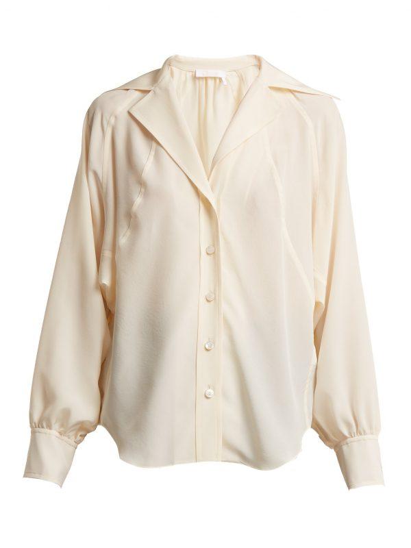 Open-collar silk crepe de Chine shirt