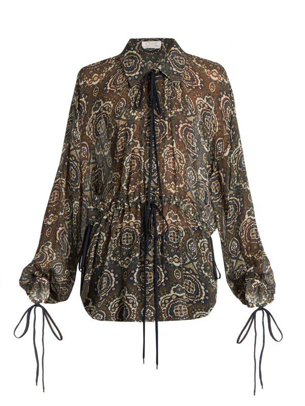 Oriental-print silk-crepon blouse