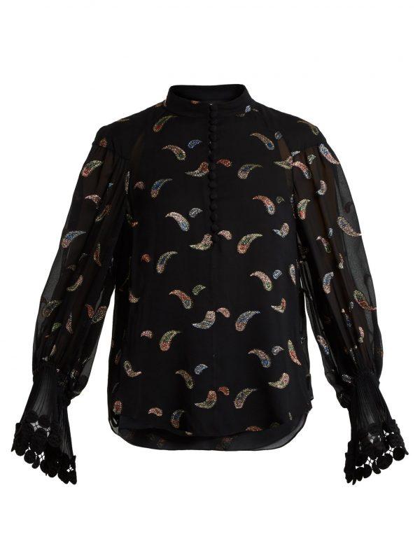 Paisley-jacquard chiffon blouse
