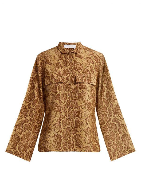 Patch-pocket python-print silk shirt