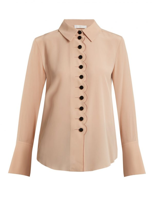 Point-collar scalloped-edged silk crepe shirt