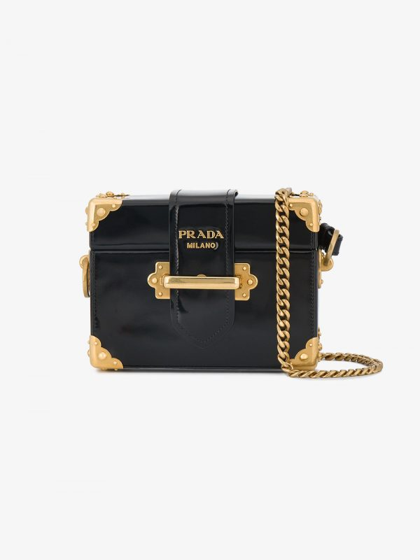 Prada Black Cahier Mini Patent Leather Box bag