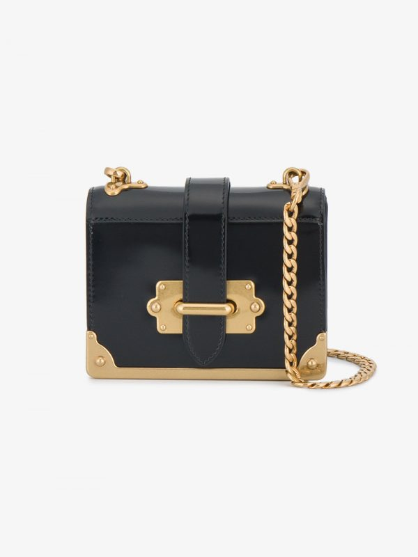 Prada Black cahier Micro Patent Leather box bag