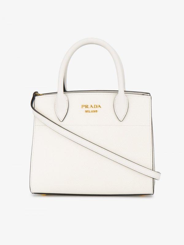 Prada White Bibliotheque Mini tote bag