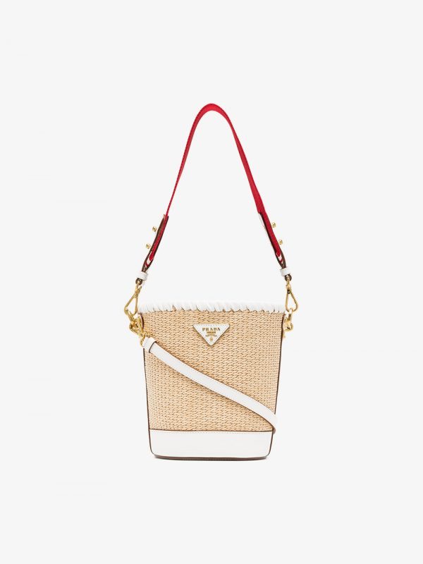Prada White, Nude And Red Logo Raffia Bucket Bag