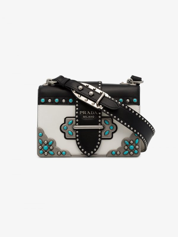 Prada black and white Cahier Folk mini stud leather bag