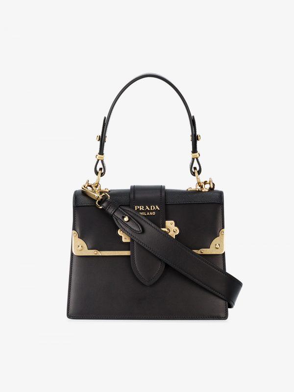 Prada black cahier medium leather tote bag