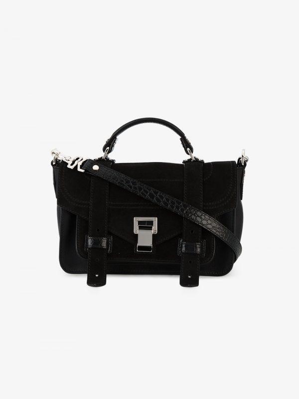 Proenza Schouler Black Croc PS1 Mini Suede Shoulder Bag