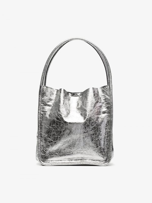 Proenza Schouler Silver Metallic Large Leather Tote Bag