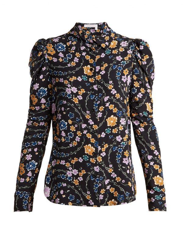 Puff shoulder crepe blouse