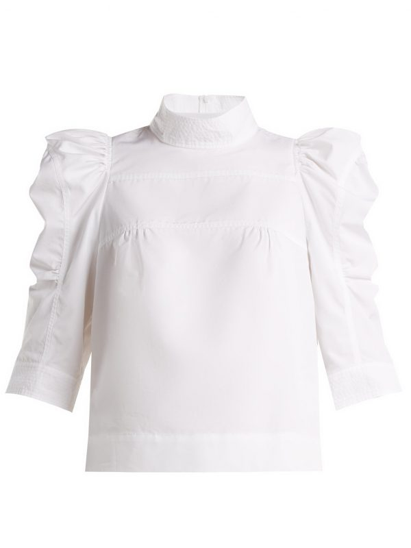 Puffed-sleeve cotton blouse