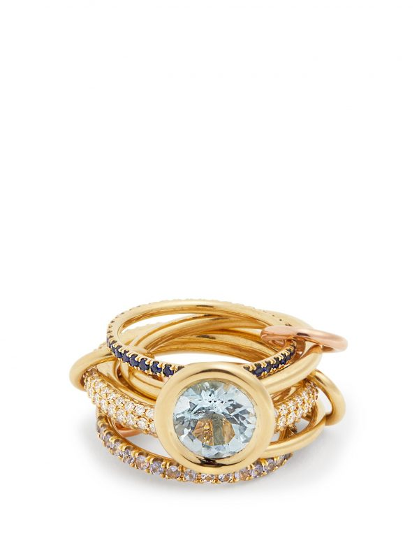 Rana diamond, yellow-gold & rose-gold rings