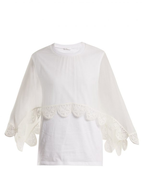Round-neck lace-trimmed cotton-jersey top