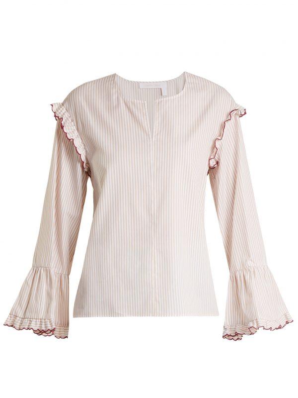 Round-neck striped-cotton blouse