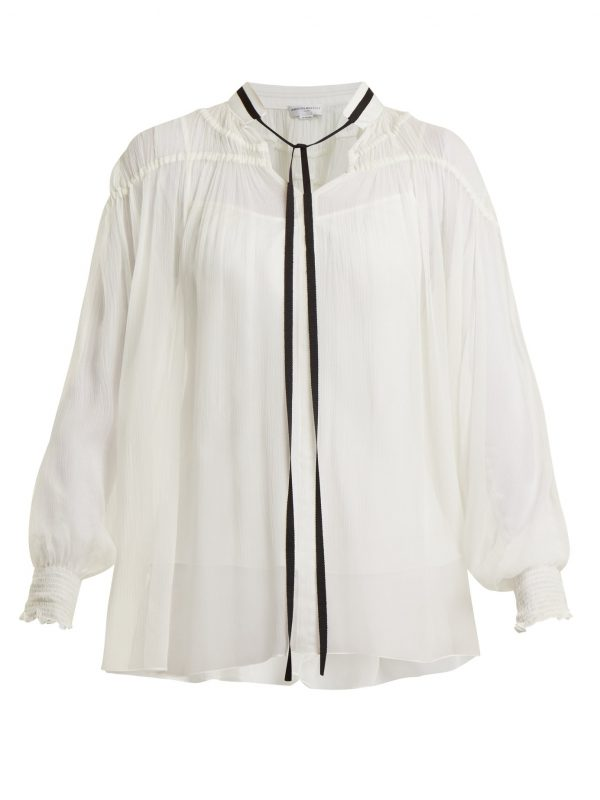 Ruched crinkle-chiffon blouse
