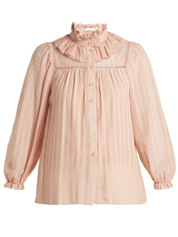 Ruffle-neck cotton top