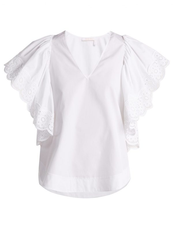 Ruffle-sleeved cotton-poplin blouse