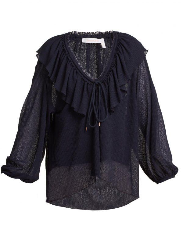 Ruffle-trimmed V-neck blouse