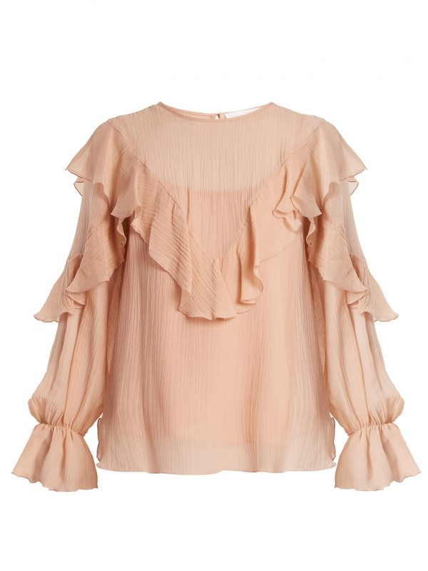Ruffle-trimmed cotton and silk-blend top