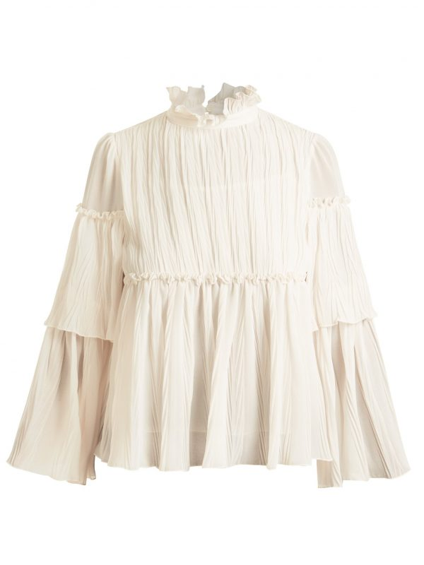 Ruffle-trimmed pleated georgette blouse