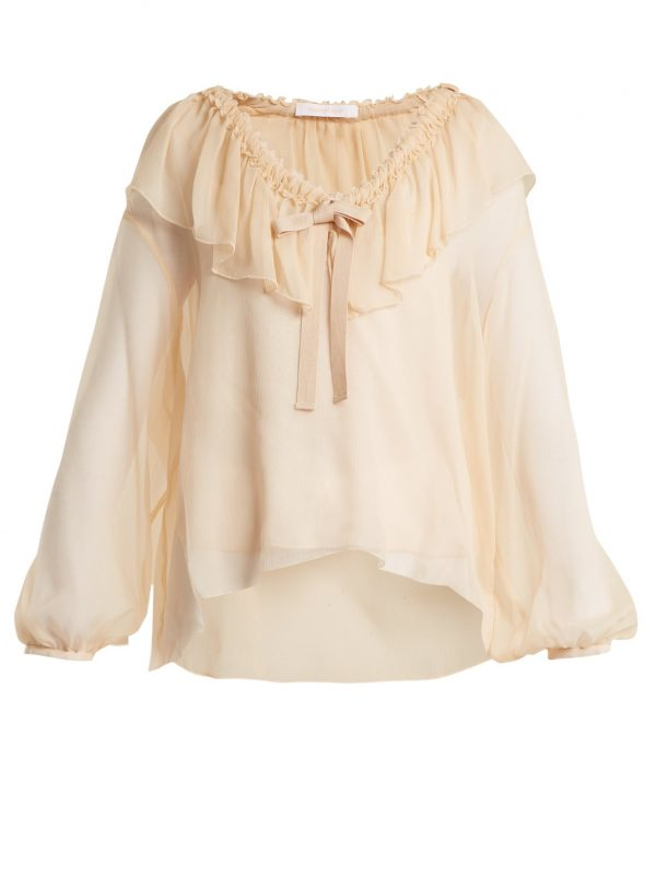 Ruffle-trimmed silk blouse