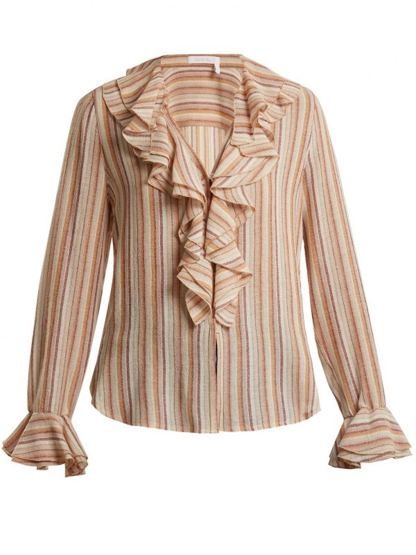 Ruffle-trimmed striped gauze top